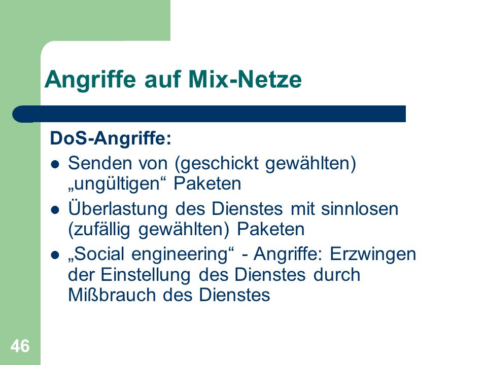 Angriffe auf Mix-Netze