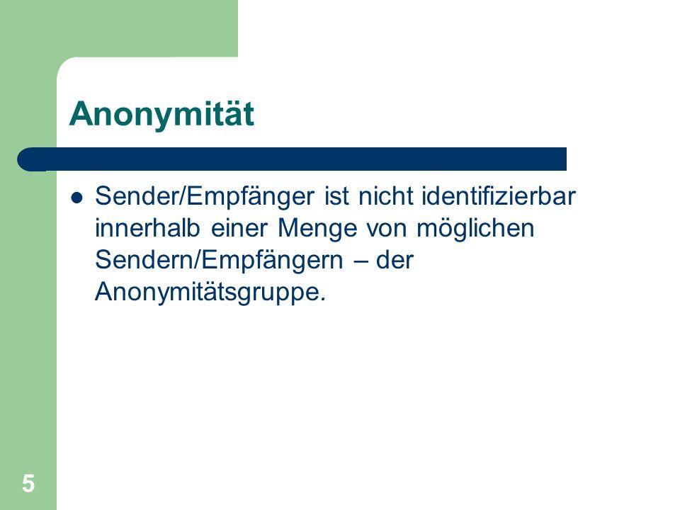 Anonymität Sender/Empfänger ist nicht identifizierbar innerhalb einer Menge von möglichen Sendern/Empfängern – der Anonymitätsgruppe.