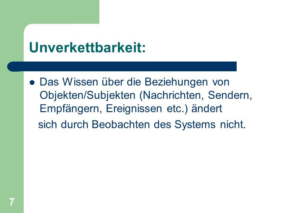 Unverkettbarkeit: Das Wissen über die Beziehungen von Objekten/Subjekten (Nachrichten, Sendern, Empfängern, Ereignissen etc.) ändert.