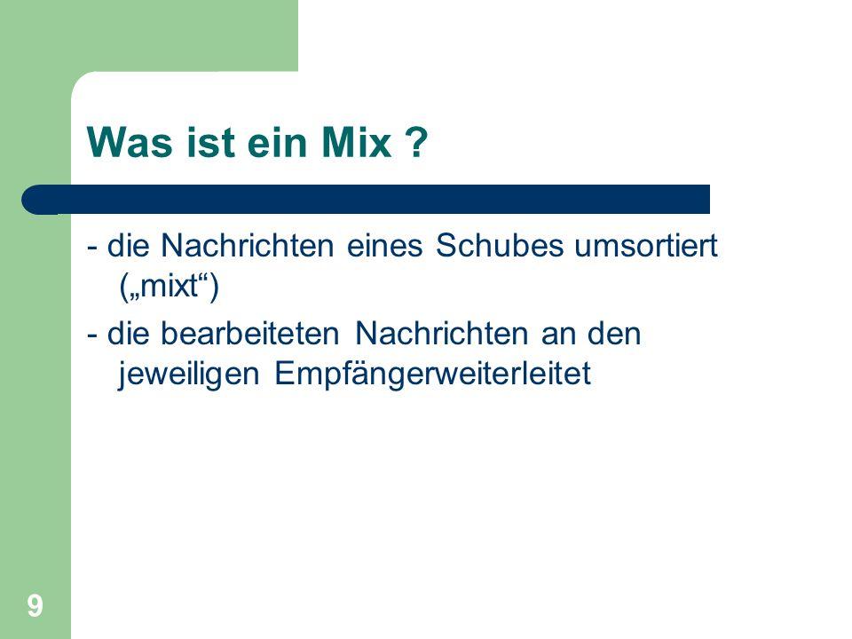 """Was ist ein Mix - die Nachrichten eines Schubes umsortiert (""""mixt )"""