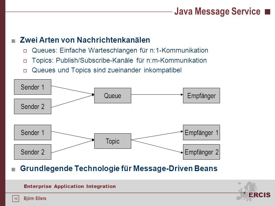 Java Message Service Zwei Arten von Nachrichtenkanälen