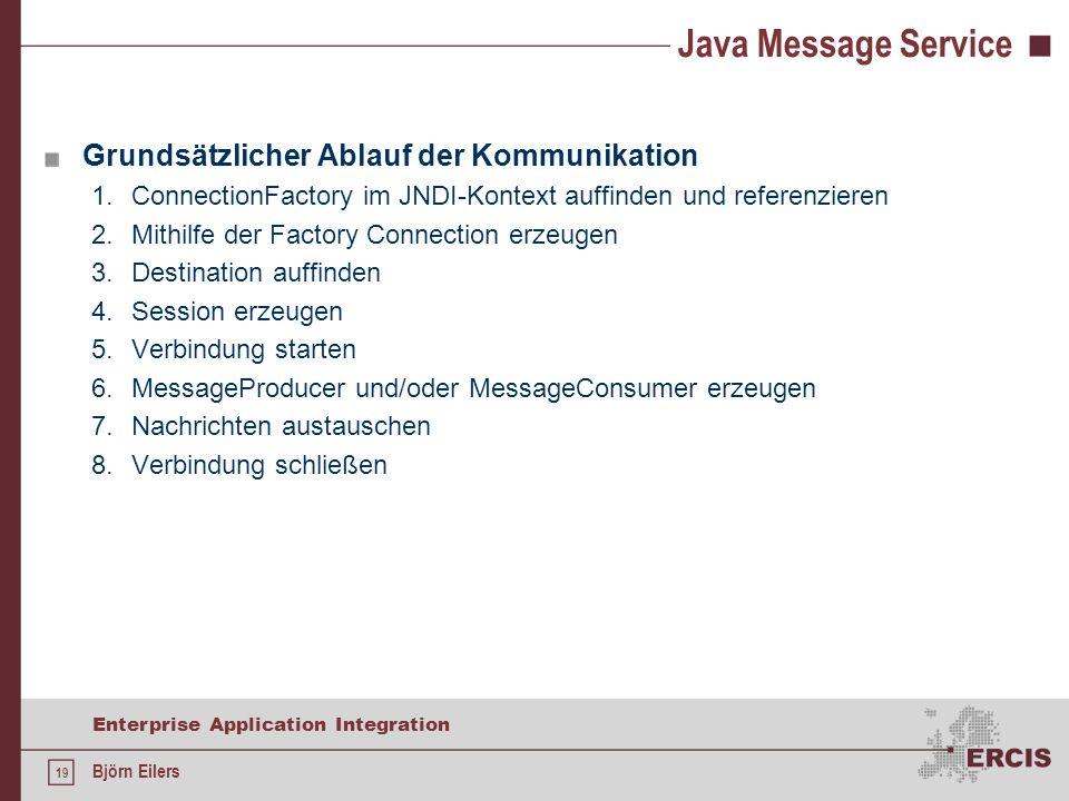 Java Message Service Grundsätzlicher Ablauf der Kommunikation