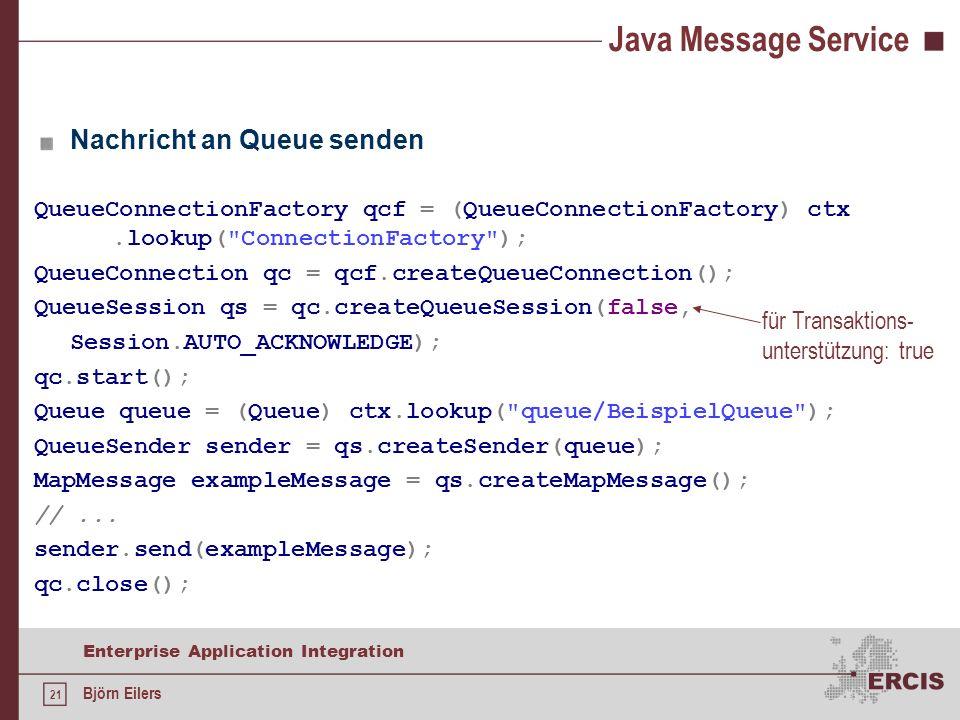 Java Message Service Nachricht an Queue senden für Transaktions-