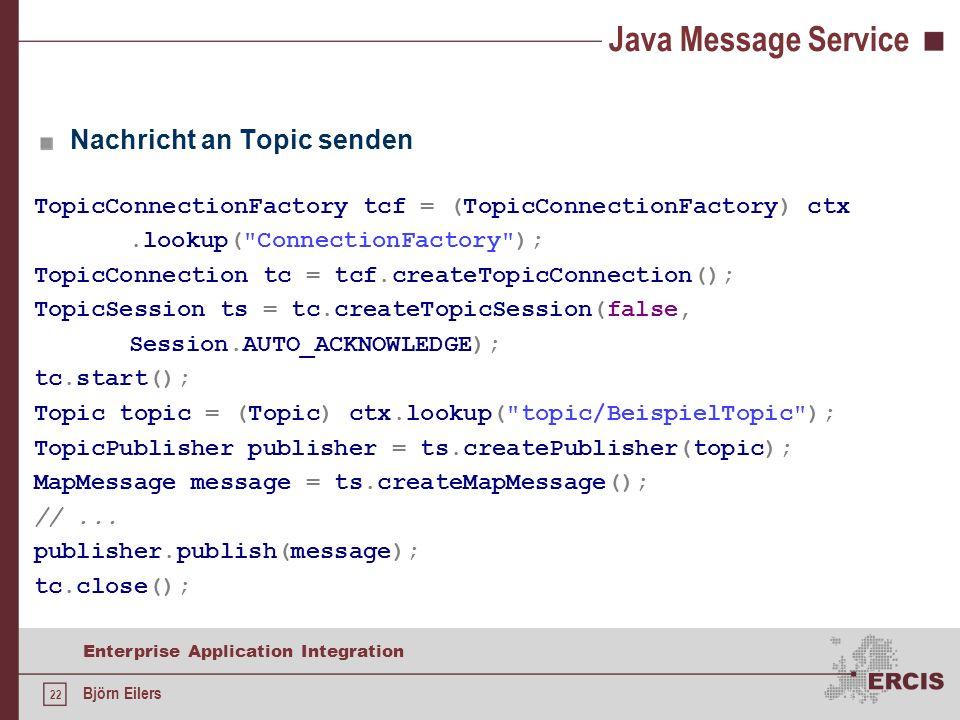 Java Message Service Nachricht an Topic senden