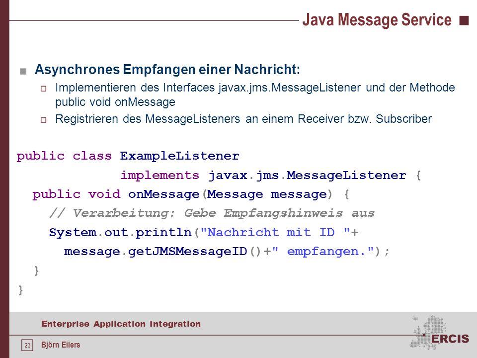 Java Message Service Asynchrones Empfangen einer Nachricht:
