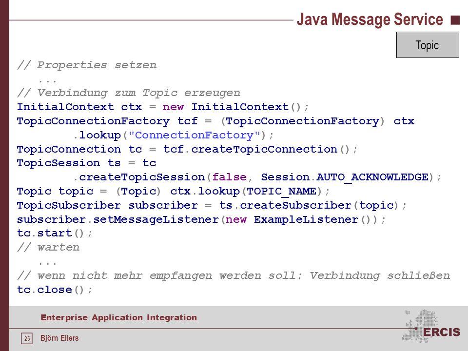 Java Message Service Topic // Properties setzen ...