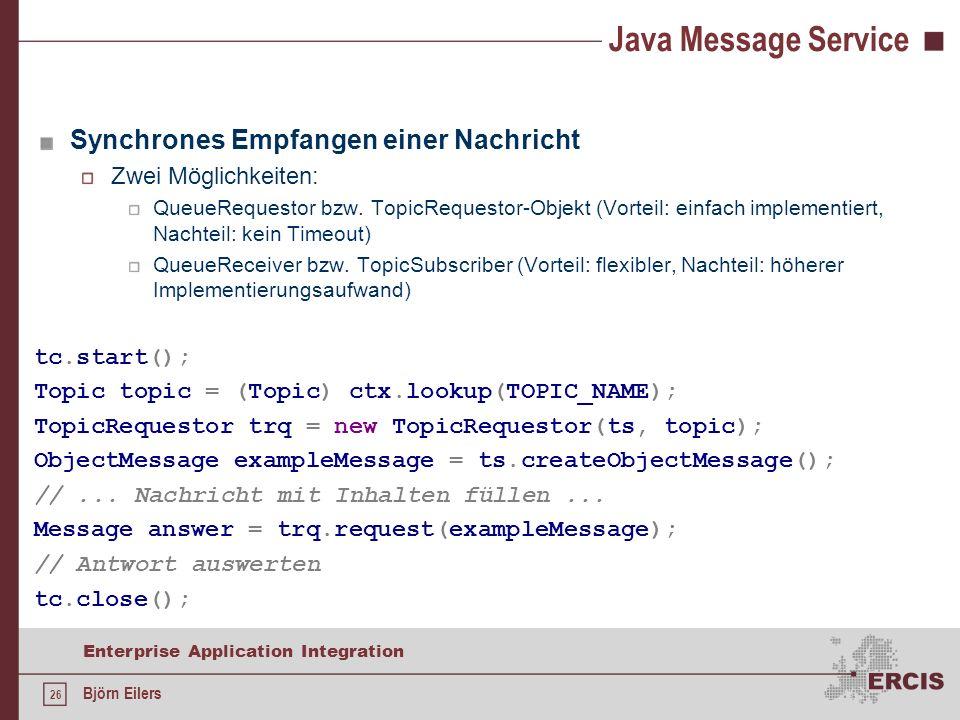 Java Message Service Synchrones Empfangen einer Nachricht