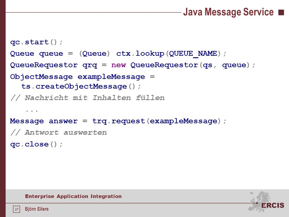 Java Message Service qc.start();