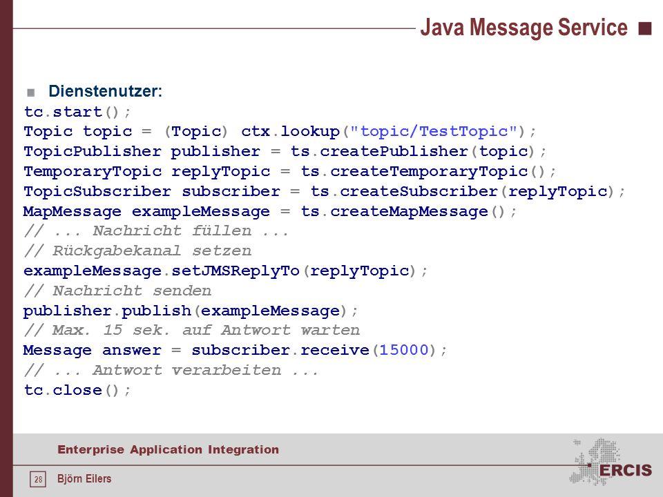 Java Message Service Dienstenutzer: tc.start();