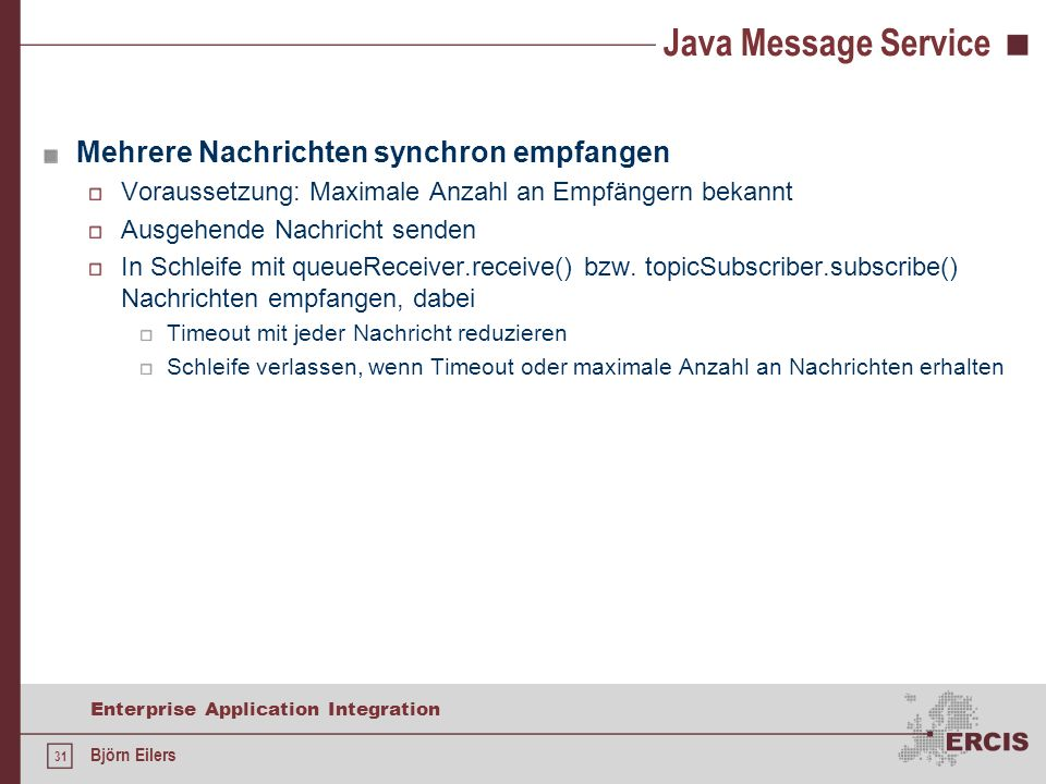 Java Message Service Mehrere Nachrichten synchron empfangen