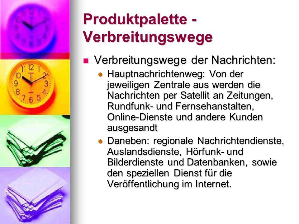 Produktpalette - Verbreitungswege