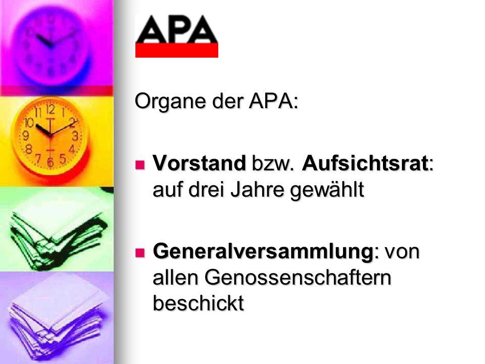 Organe der APA: Vorstand bzw. Aufsichtsrat: auf drei Jahre gewählt.
