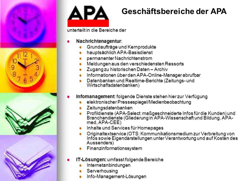 Geschäftsbereiche der APA