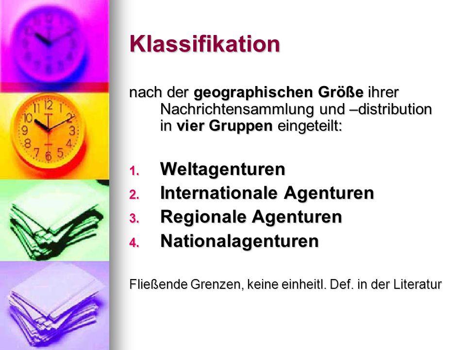 Klassifikation Weltagenturen Internationale Agenturen