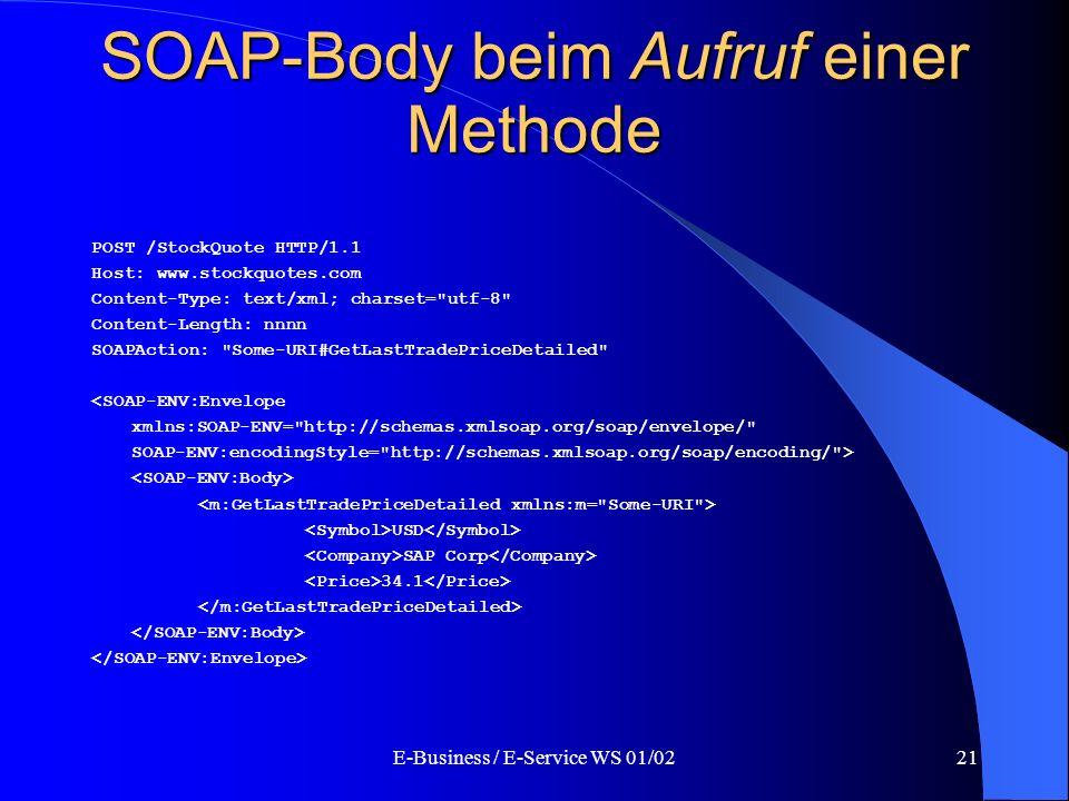 SOAP-Body beim Aufruf einer Methode