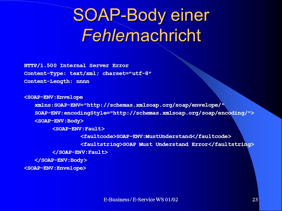 SOAP-Body einer Fehlernachricht