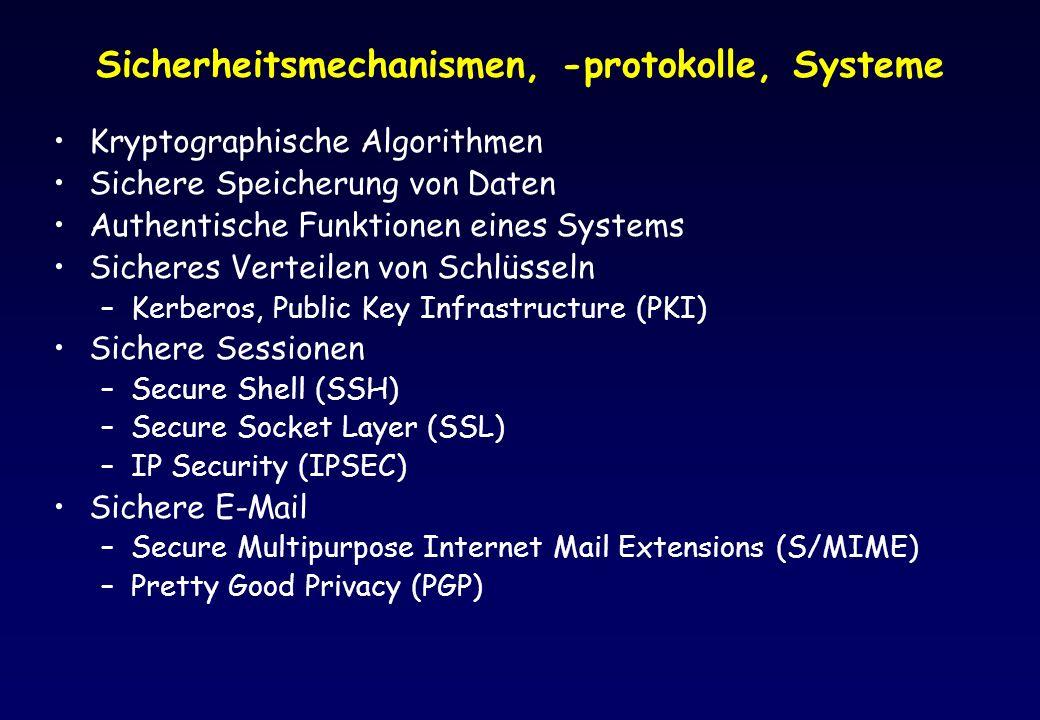 Sicherheitsmechanismen, -protokolle, Systeme