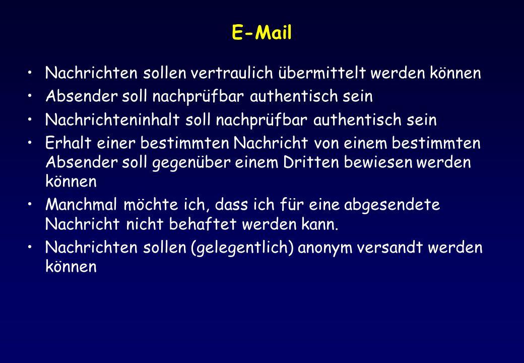 E-Mail Nachrichten sollen vertraulich übermittelt werden können