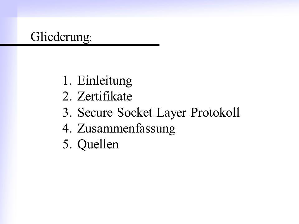 Gliederung: Einleitung Zertifikate Secure Socket Layer Protokoll Zusammenfassung Quellen