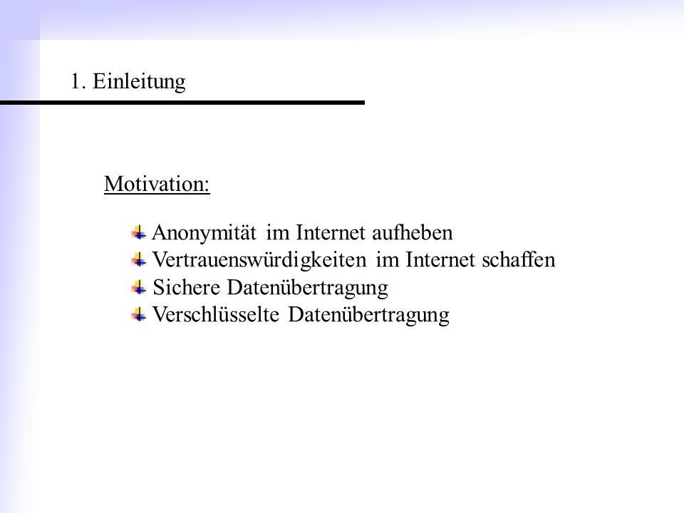 1. Einleitung Motivation: Anonymität im Internet aufheben. Vertrauenswürdigkeiten im Internet schaffen.