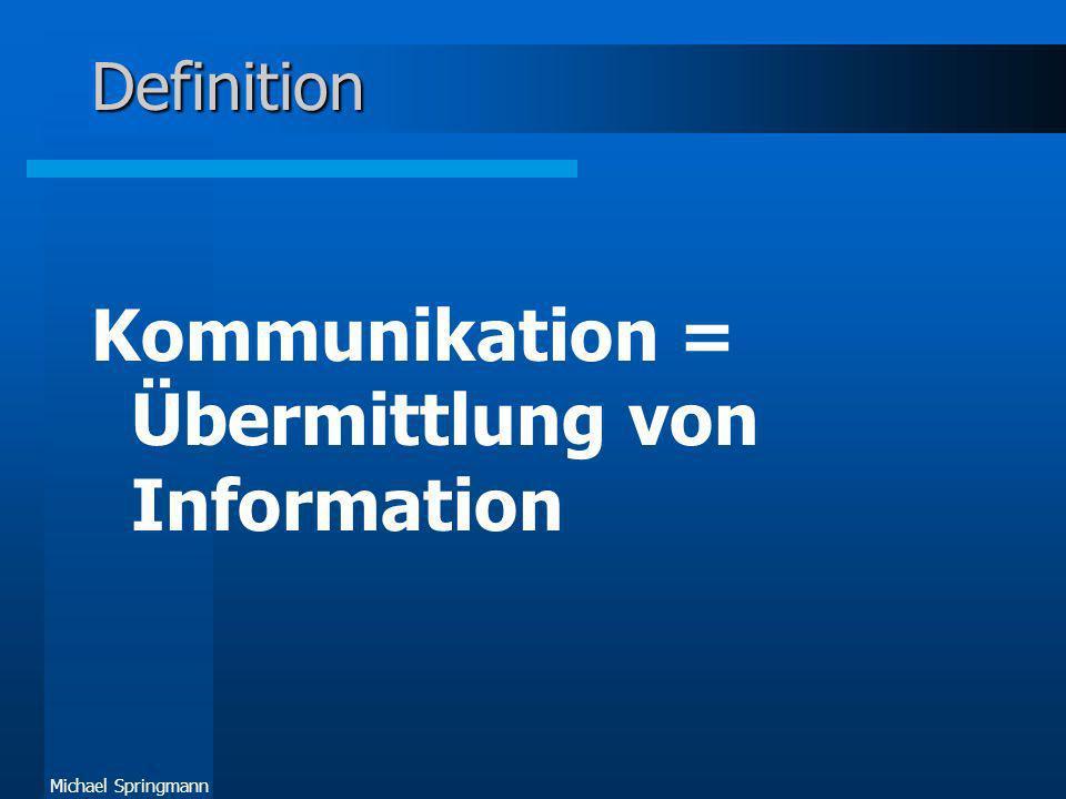 Kommunikation = Übermittlung von Information