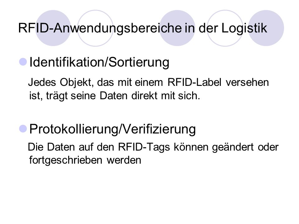 RFID-Anwendungsbereiche in der Logistik
