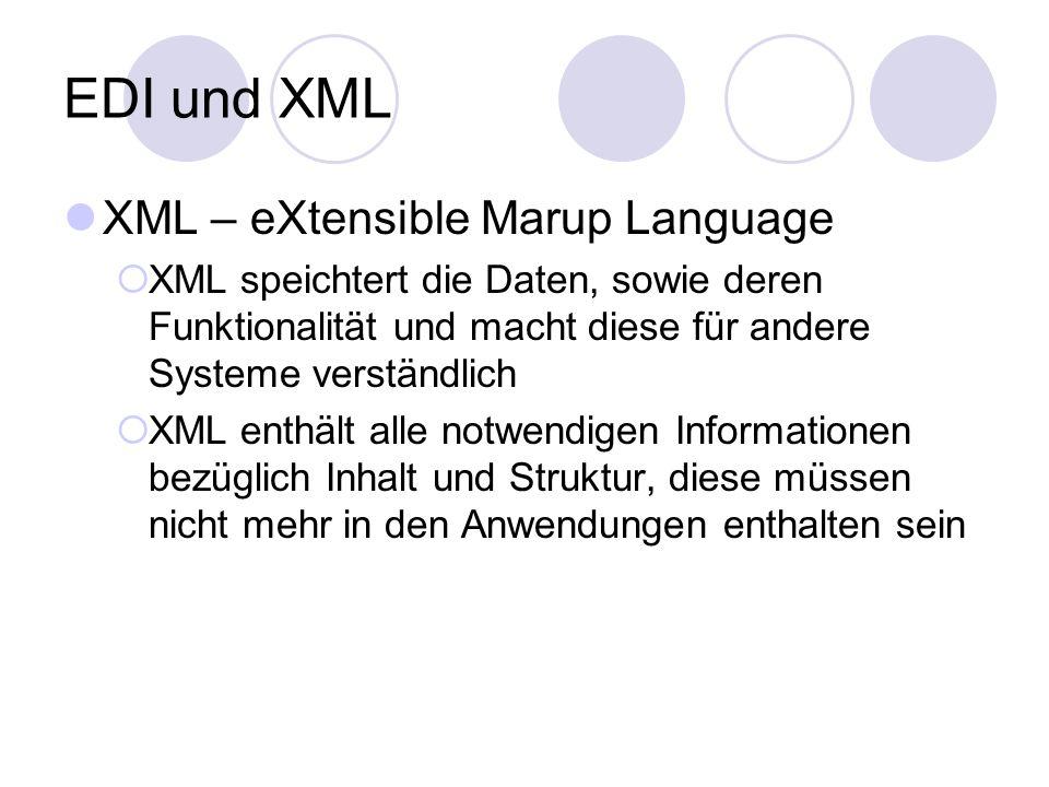EDI und XML XML – eXtensible Marup Language