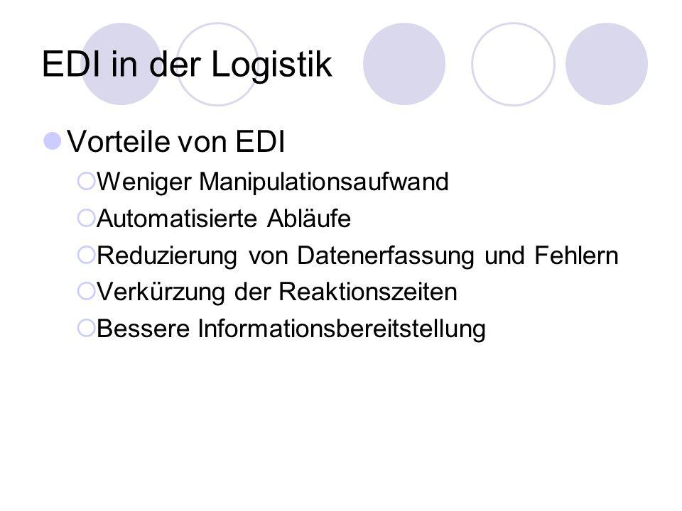 EDI in der Logistik Vorteile von EDI Weniger Manipulationsaufwand
