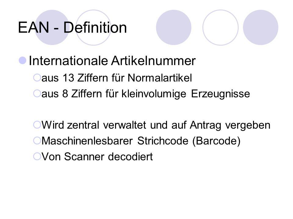 EAN - Definition Internationale Artikelnummer