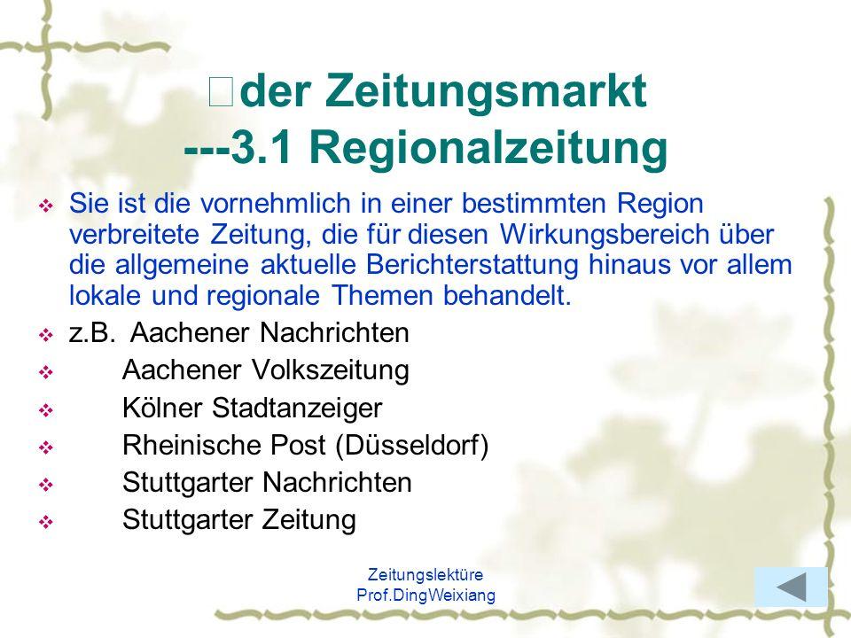 Ⅱder Zeitungsmarkt ---3.1 Regionalzeitung
