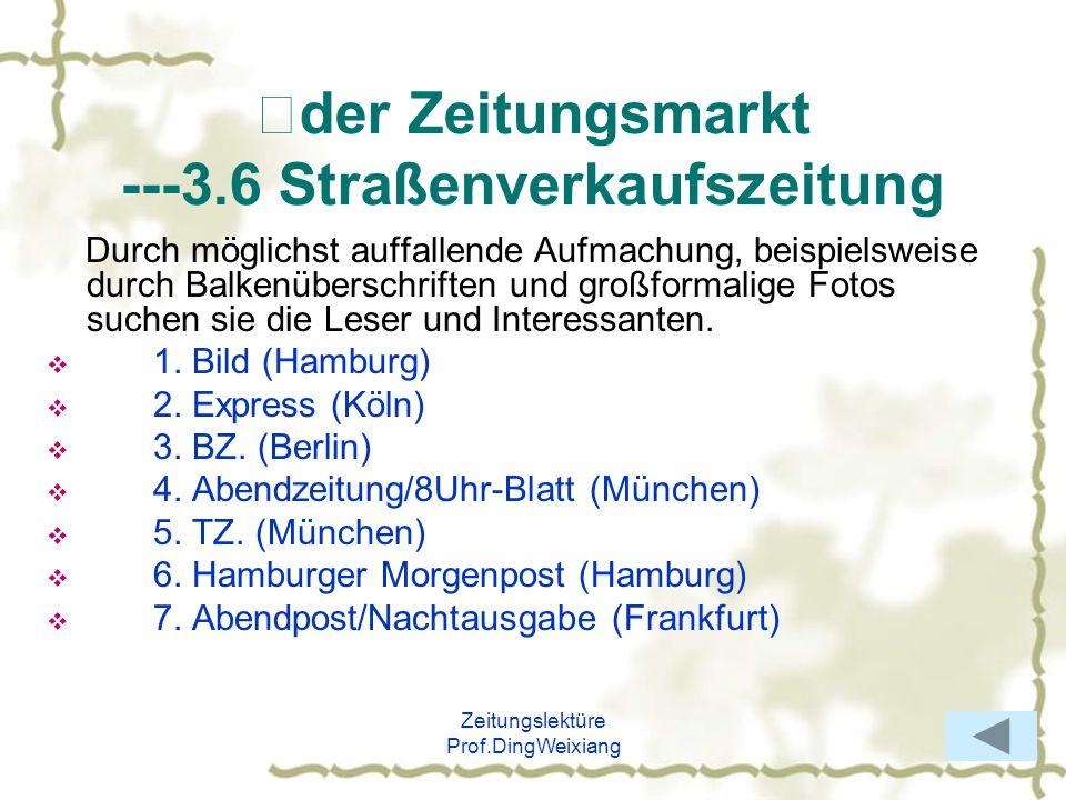 Ⅱder Zeitungsmarkt ---3.6 Straßenverkaufszeitung