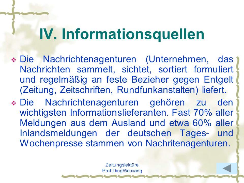 IV. Informationsquellen
