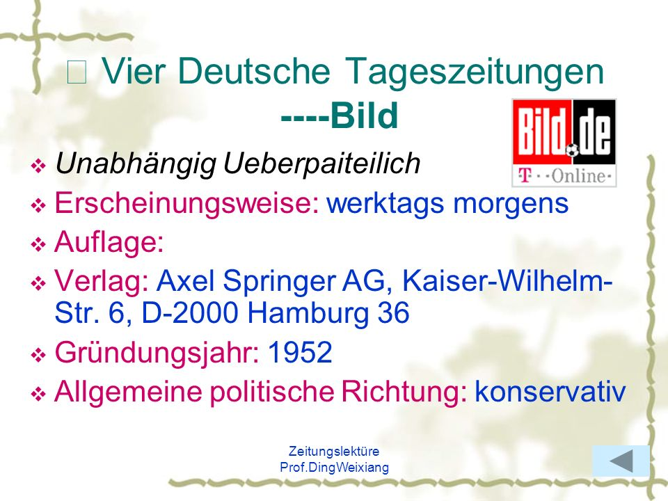 Ⅷ Vier Deutsche Tageszeitungen ----Bild