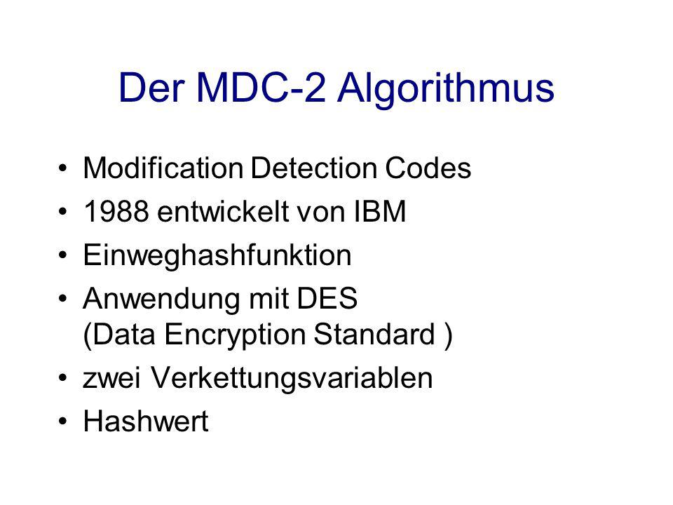 Der MDC-2 Algorithmus Modification Detection Codes
