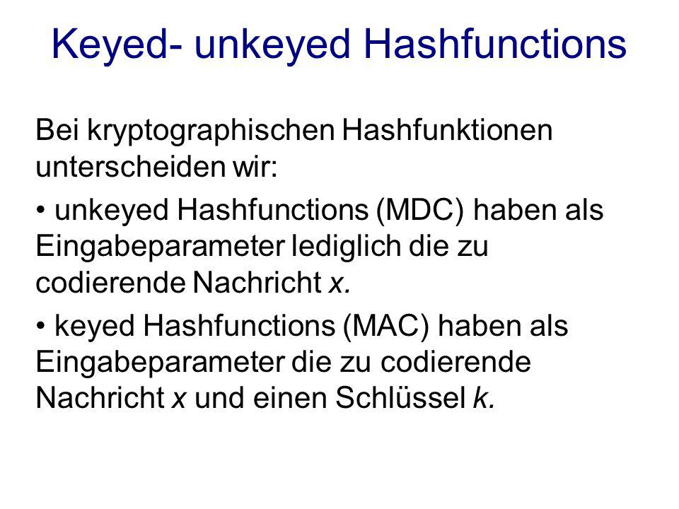 Keyed- unkeyed Hashfunctions