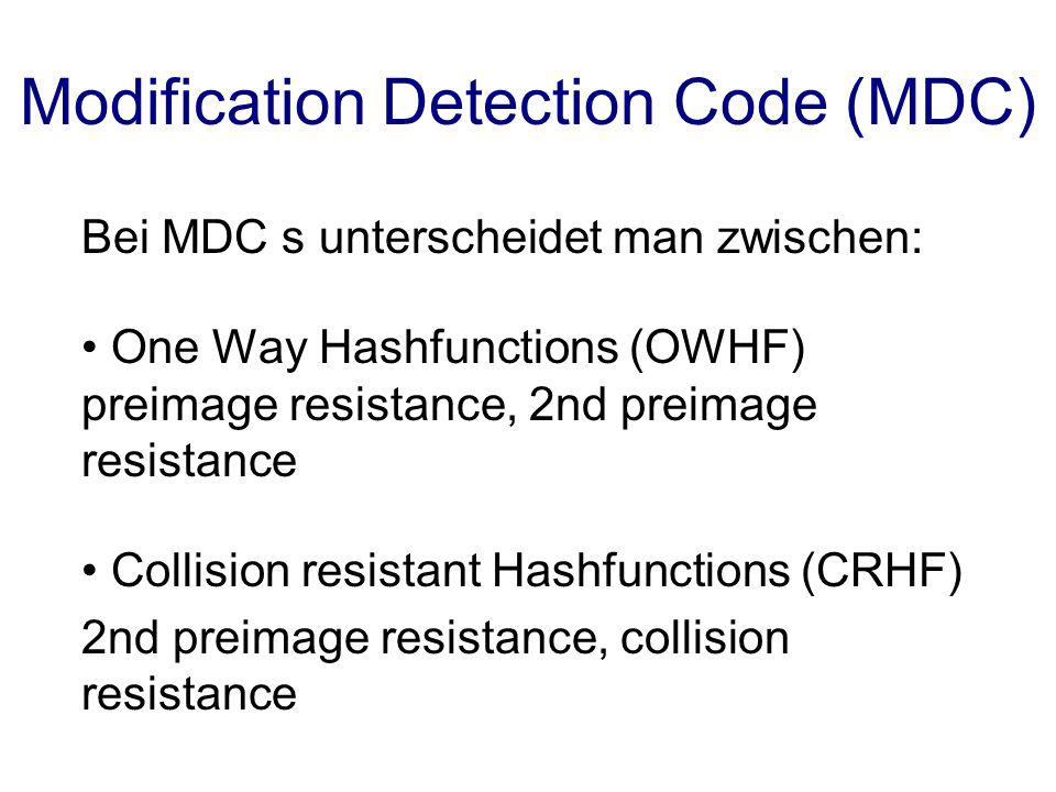 Modification Detection Code (MDC)