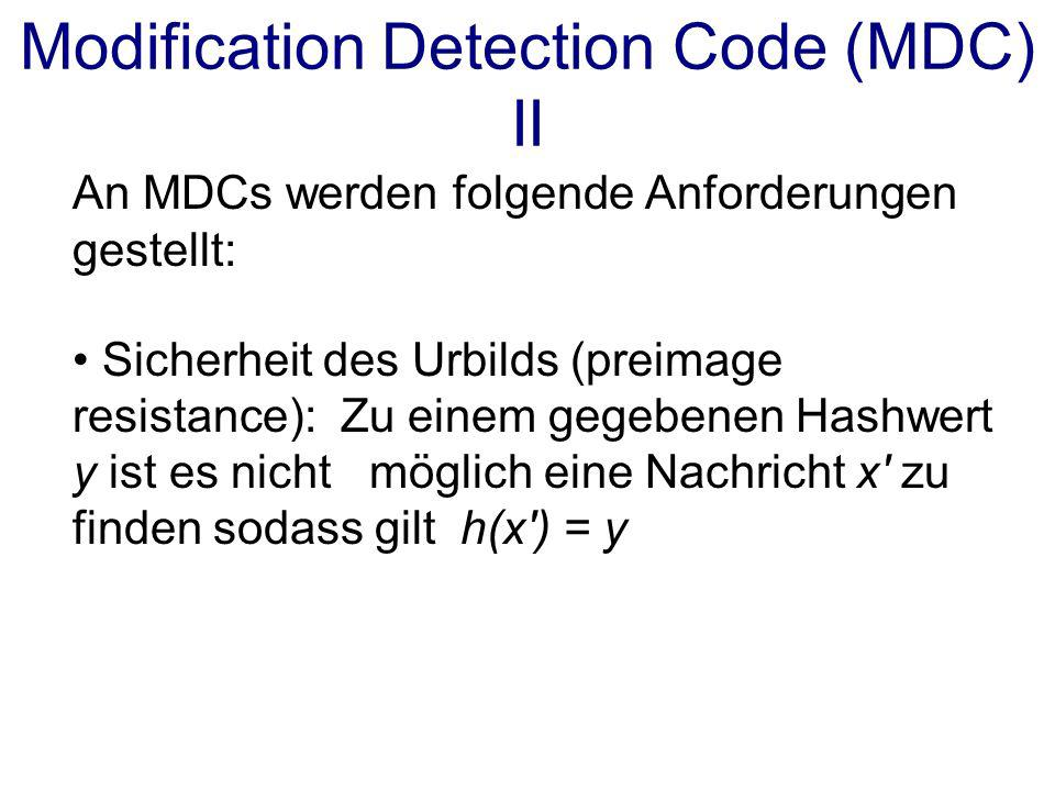 Modification Detection Code (MDC) II