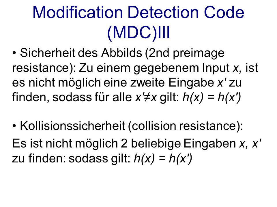 Modification Detection Code (MDC)III