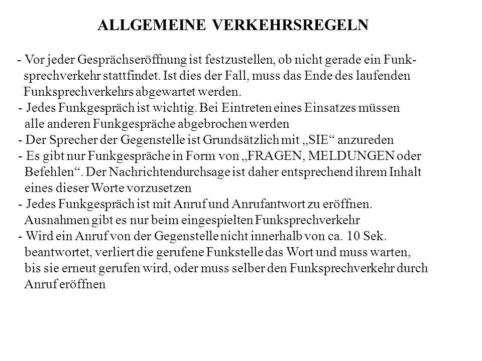 ALLGEMEINE VERKEHRSREGELN