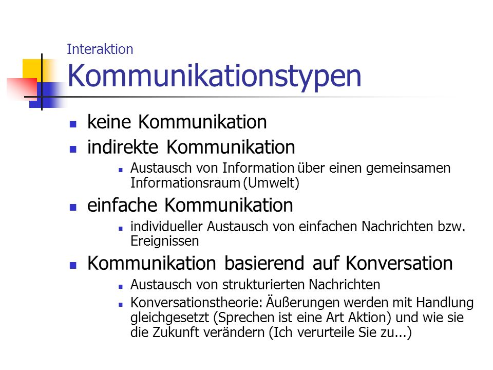 Interaktion Kommunikationstypen