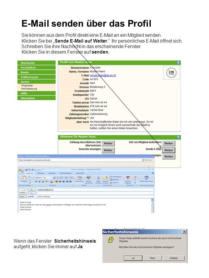 E-Mail senden über das Profil