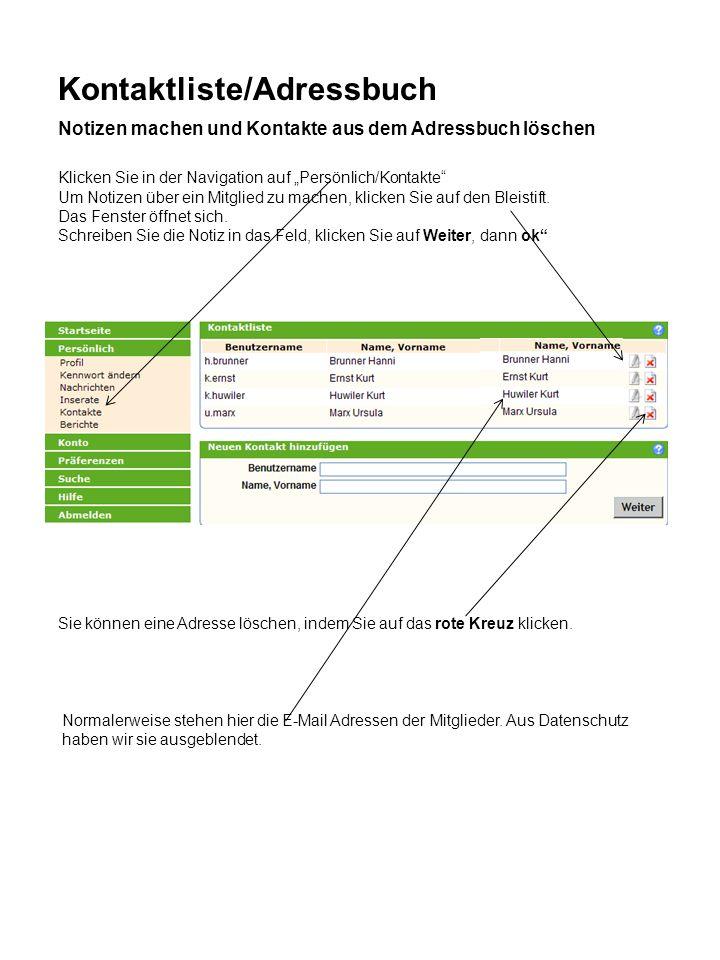 Kontaktliste/Adressbuch
