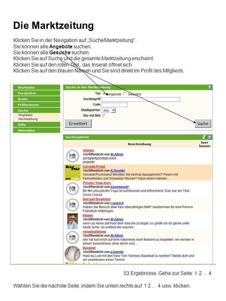 """Die Marktzeitung Klicken Sie in der Navigation auf """"Suche/Marktzeitung . Sie können alle Angebote suchen."""