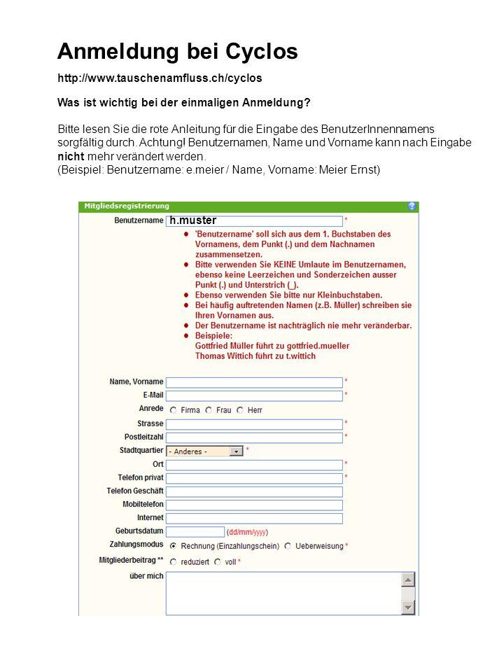 Anmeldung bei Cyclos http://www.tauschenamfluss.ch/cyclos