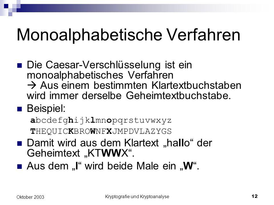 Monoalphabetische Verfahren