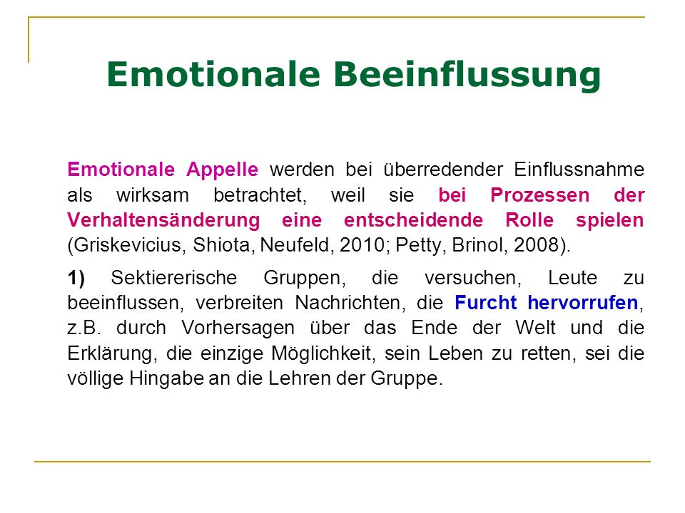 Emotionale Beeinflussung