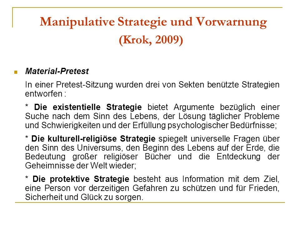Manipulative Strategie und Vorwarnung (Krok, 2009)