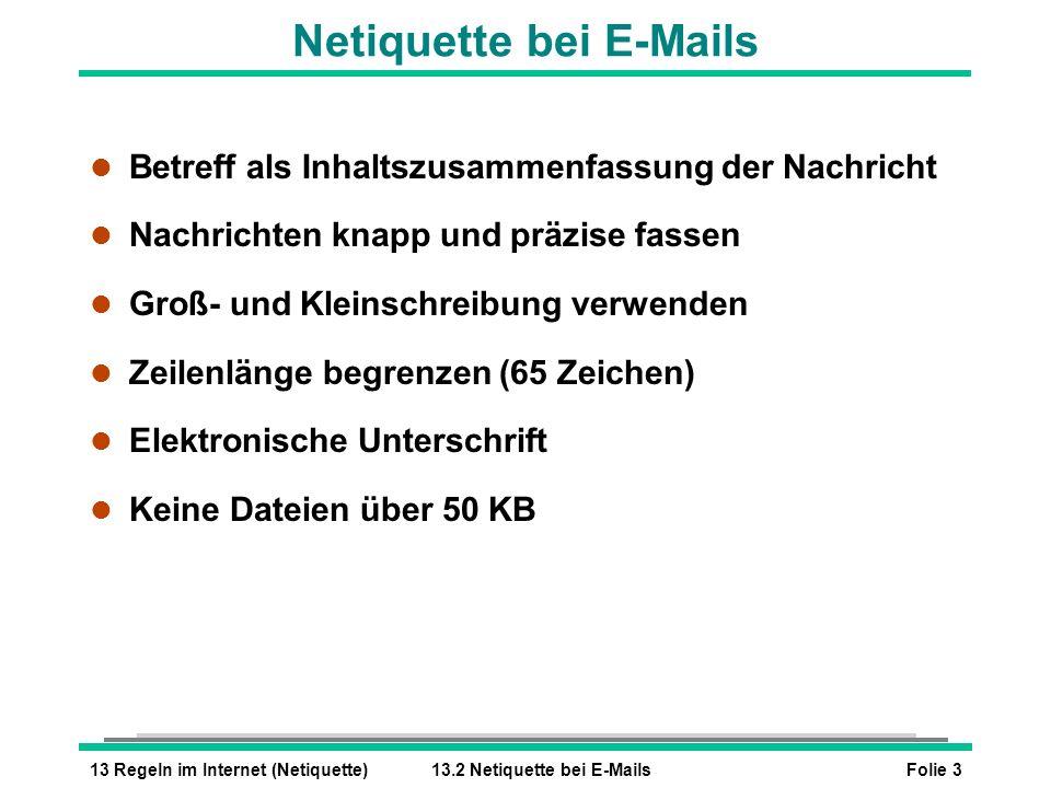 Netiquette bei E-Mails