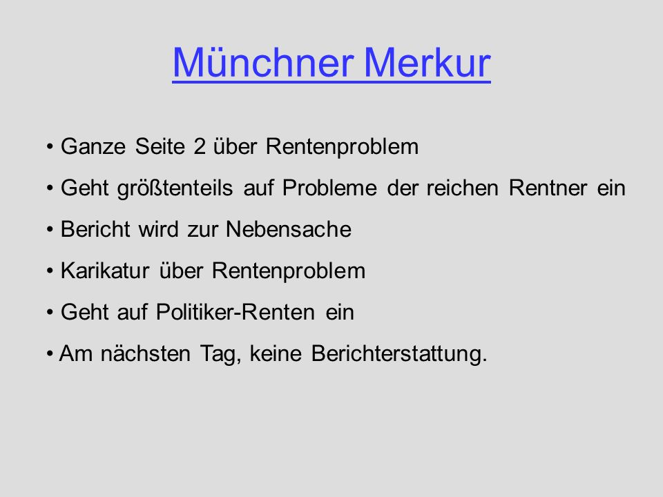 Münchner Merkur Ganze Seite 2 über Rentenproblem