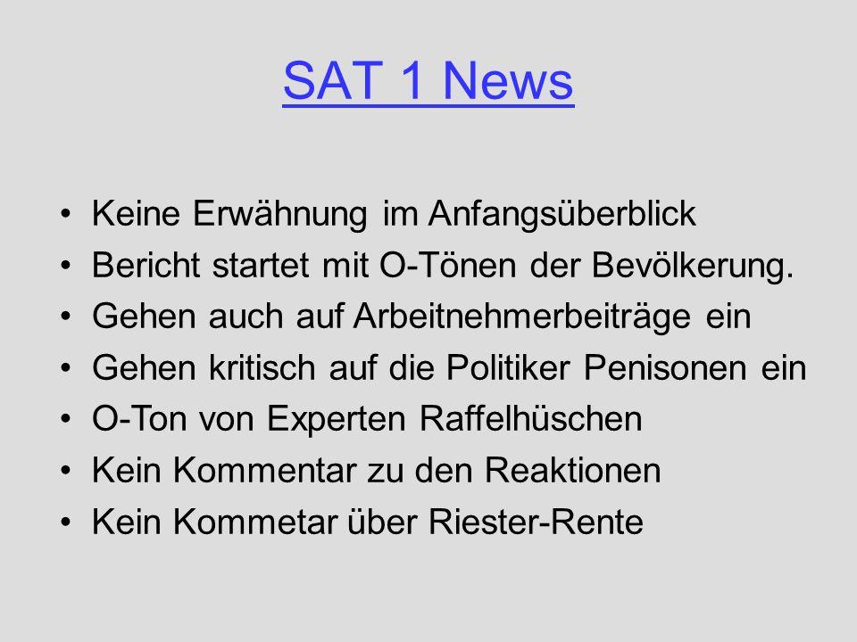 SAT 1 News Keine Erwähnung im Anfangsüberblick